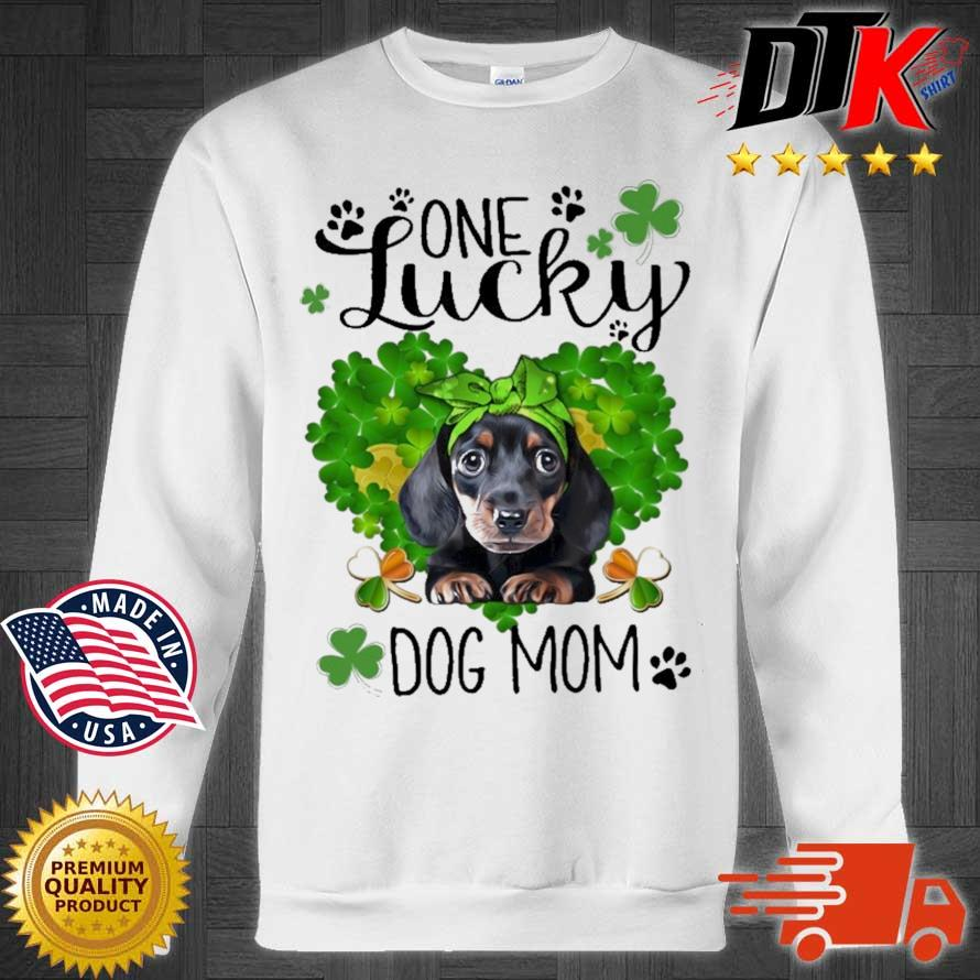 Dachshund one lucky dog mom St Patrick's Day Sweater trang