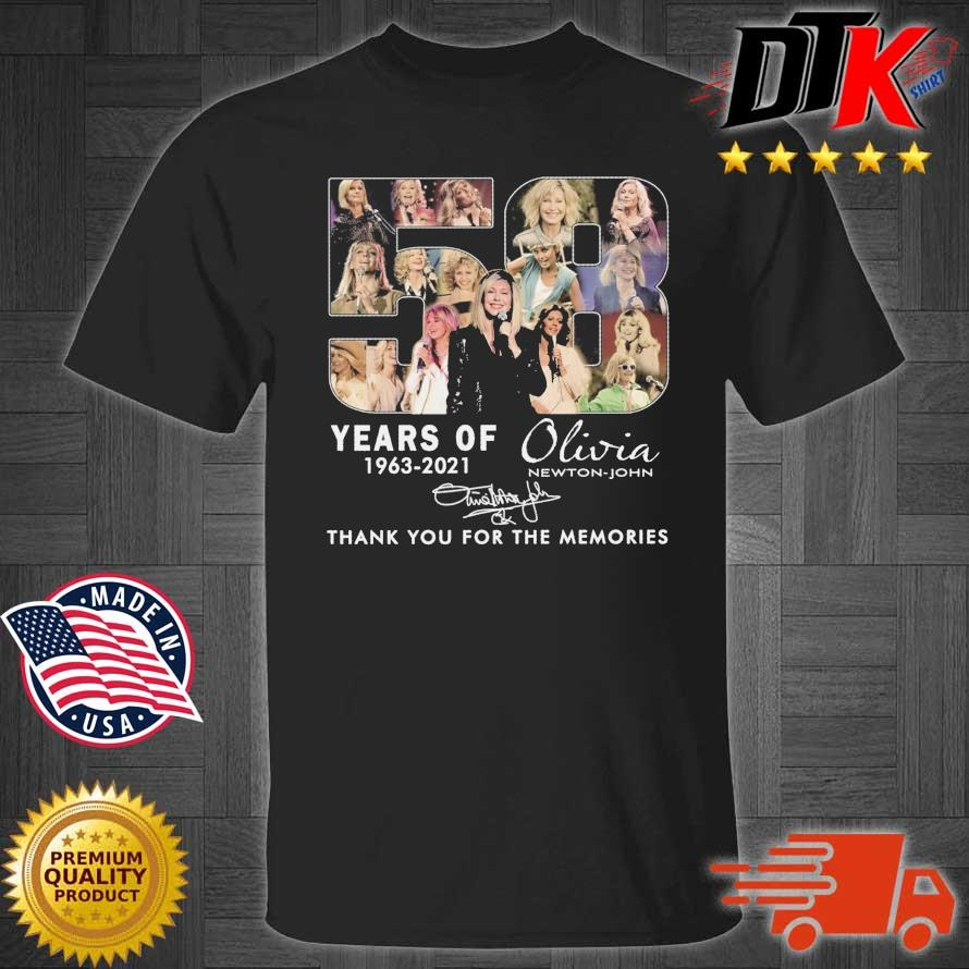 58 years of 1963-2021 Olivia Newton-John thank you for the memories signature shirt
