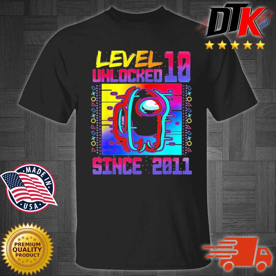 Distressed Level 10 Unlocked Along With Us 8th Birthday Shirt
