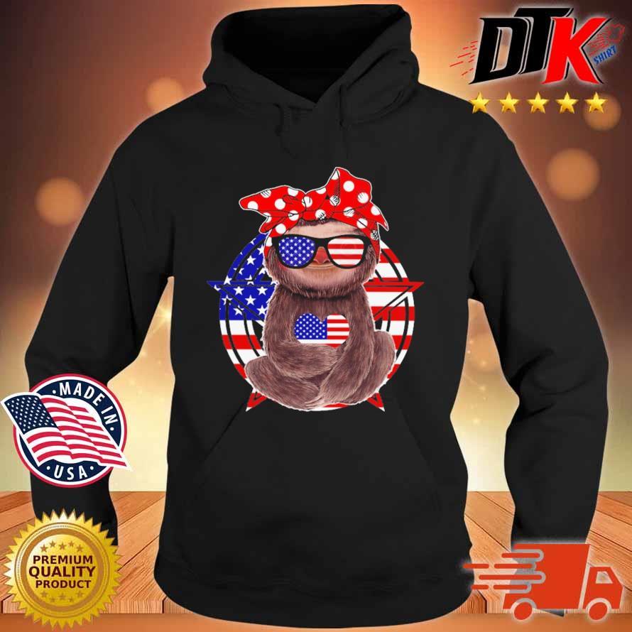 Sloth hug heart American flag 4th Of July s Hoodie den