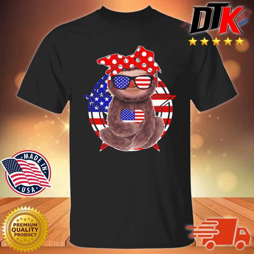 Sloth hug heart American flag 4th Of July shirt